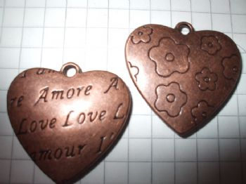 1 Copper Coloured Love/Flower Heart Charm  27mm x 26mm